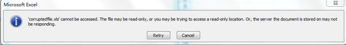 'filename.xls' cannot be accessed.