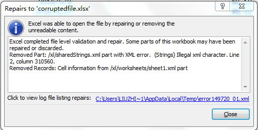 Excel was able to open the file by repairing or removing the unreadable content.